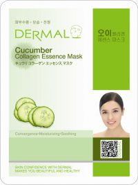 Маска для лица с коллагеном и экстрактом огурца Dermal Cucumber Collagen Essence Mask, Корея, 23г