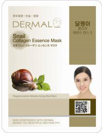 Маска для лица с коллагеном и экстрактом слизи улитки Dermal Snail Collagen Essence Mask, Корея, 23г