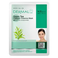 Маска для лица с коллагеном и зелёным чаем Dermal Green Tea Collagen Essence Mask, Корея, 23г