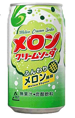 Купить Лимонад Tominaga Крем-сода со вкусом Дыни, 350 мл, Япония по цене 80 руб.