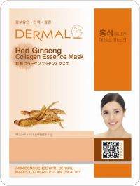 Маска для лица с коллагеном и экстрактом женьшеня Dermal Red Ginseng Collagen Essence Mask, Корея, 23г