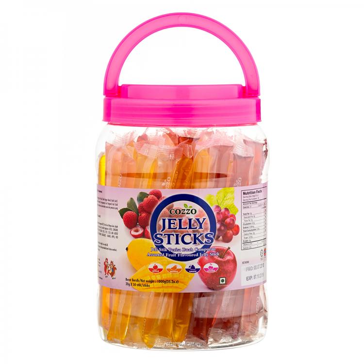 Купить Желейные фруктовые палочки Jelly Sticks ассорти, 1000г по цене 699 руб.